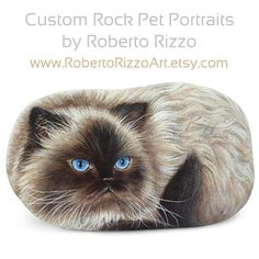 Painted Rocks Wildlife Art Pet Portraits & di RobertoRizzoArt