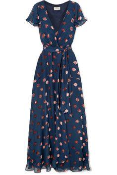 Temperley London - Devoré-chiffon Wrap Dress - Navy Source by netaporter Dresses Cute Dresses, Beautiful Dresses, Cute Outfits, Dresses With Sleeves, Summer Dresses, Maxi Dresses, Wrap Dresses, Chiffon Maxi Dress, Dress Lace