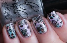 stamping using Lily Anna 04 from Messy Mansion, Lethal from Cult Nails with distressed look - by ChitChat Nails