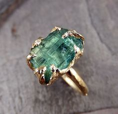 Raw Sea Green Tourmaline Gold Ring Rough Uncut Gemstone Rare color tourmaline recycled 14k Size 6 1/2 stacking cocktail statement byAngeline    I