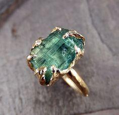 Raw Sea Green Tourmaline Gold Ring Rough Uncut Gemstone tourmaline recycled 14k Size 6 1/2 stacking cocktail statement byAngeline