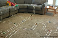 build a masking tape track - my kids would go bonkers with the tape!!