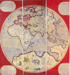 Eastern Hemisphere. From Map of the World in Chinese, from Western models. Eight scrolls. Compiled by  Ferdinad Verbiest. 1674 From the collection of Kobe City Museum