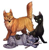 Lionblaze, Hollyleaf, and Jayfeather. You know what I just realized? The three look a lot like Firestar, Ravenpaw, and Graystripe.