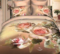New Arrival Cotton Elegant Flower Blossoms Print 4 Piece Bedding Sets  @bedding inn