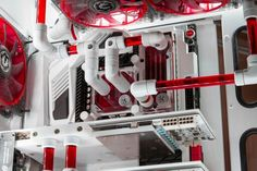Red white computer pc tower liquid cooled setup case