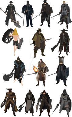 The Old Hunters are Bloodborne's NPCs you can summon. Most of them have been introduced with the DLC, exception made for Father Gascoigne and Alfred. From left to right: Father Gascoigne Valtr, Mas...