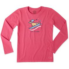 Life is Good T Shirts, clothing and accessories at Jakes Good Newport: Life is Good: WOMEN'S LONG SLEEVE CRUSHER TEE: ROCKET SLED - POP PINK T-Shirts, Hats, Gear, Tees, Shorts, Pants, Dog Products, Accessories, other Clothing