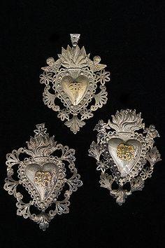 Set Of Three Italian Antique Silverplated Sacred Heart Ex-Voto With Cherubs