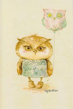 owl with balloon by Inga Paltser