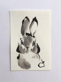 Ink art drawing  ink painting Mini animal art by ArtGalleryReina