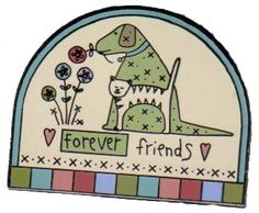 """Friends Forever Pin - measures 1"""" x 1"""". Makes a great stocking stuffer or secret santa gift, too! Collectible by Lynette Anderson"""