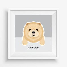 "Chow Chow Puppy ,Chow Chow Print,Cute Dog Print,Puppy watercolor,Pet Decor,digital Prints,nursery decor,8""x 8""inches (20,3x20,3cm)"