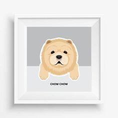 "Chow Chow Puppy ,Chow Chow Print,Cute Dog Print,Puppy watercolor,Pet Decor,digital Prints,nursery decor,8""x 8""inches (20,3x20,3cm)"