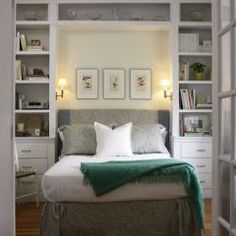 guest room - love the bookshelves on either side.  Maybe a window seat instead of bed?