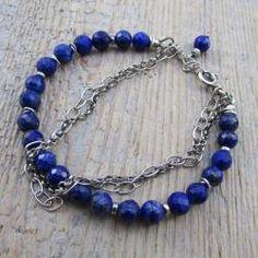 kobieca - Bransoletki - Biżuteria Aquamarine Bracelet, Rose Quartz Bracelet, Garnet Bracelet, Gemstone Bracelets, Gemstone Jewelry, Simple Bracelets, Birthstone Jewelry, Lapis Lazuli, Birthstones