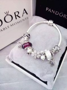 Tendance Bracelets 50% OFF!!! $219 Pandora Charm Bracelet White Purple. Hot Sale!!! SKU: CB01588