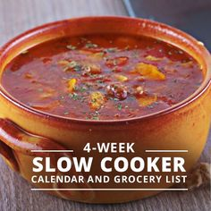 Pull your slow cooker out and simplify your meal planning with our 4 Week Slow Cooker Calendar & Grocery List! #slowcooker #grocerylist #menuplanning