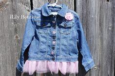Toddler Denim Jacket Jean Jacket Denim Vest Pink Tulle Flowers Tulle Flowers, Pink Tulle, 2nd Birthday, Birthday Ideas, Toddler Vest, Cute Toddlers, Denim Jackets, Vests, Custom Made