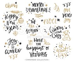 Christmas calligraphy phrases. Hand drawn design elements. royalty-free stock vector art