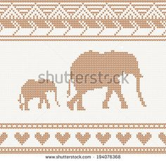 knitted pattern with elephant seamless vector illustration. Christmas concept…