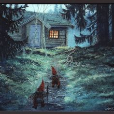 In the evening we found each other again / Kjell E. Magical Creatures, Fantasy Creatures, Fairy Land, Fairy Tales, Norwegian Christmas, Kobold, Legends And Myths, Christmas Art, Christmas Decorations