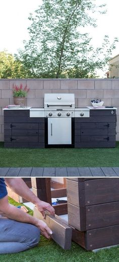 This DIY grill surround adds class and lots of extra counter space to the grilling station. Click through to see how this custom grill surround was built, along with important tips to consider when you're thinking of building your own grill surround. Backyard Projects, Backyard Patio, Backyard Landscaping, Backyard Ideas, Backyard Kitchen, Patio Ideas, Backyard Designs, Patio Bar, Diy Patio