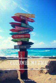 I love these colorful signs on the beach! This one is from Cozumel, Mexico. #travel #beach