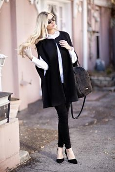 A simple white collared blouse is the perfect counterpart to a cape coat. #fall #style