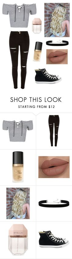 by stephiebear123 ❤ liked on Polyvore featuring Topshop, River Island, Too Faced Cosmetics, 2028, STELLA McCARTNEY and Converse