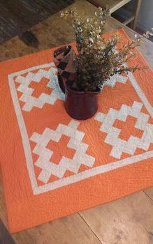 Darling free pattern from Cheri Payne, the Prim Queen! All People Quilt, Mini Quilts, Scrappy Quilts, Orange Quilt, Two Color Quilts, Fat Quarter Quilt, Halloween Quilts, Fall Quilts, Miniature Quilts