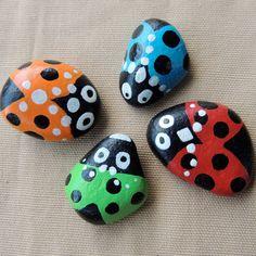 Rocks Painted as Ladybugs for a Terrarium or Fairy Garden