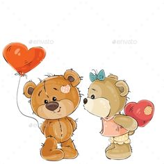 Buy Brown Teddy Bear Holding Heart by vectorpocket on GraphicRiver. Vector illustration of a brown teddy bear holding in its paw a red balloon in the shape of a heart, his girlfriend is. Tatty Teddy, Brown Teddy Bear, Cute Teddy Bears, Red Balloon, Balloons, Love Feeling Images, Teddy Bear Tattoos, Bear Vector, Vector Art