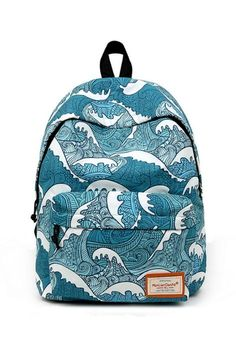 Harajuku Sea Waves Prints Backpack 9376dc718f32b