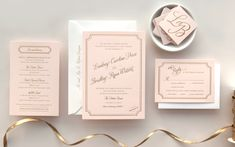 Pink and Gold Foil Wedding Invitations by Daily Sip Studios via Oh So Beautiful Paper (8)