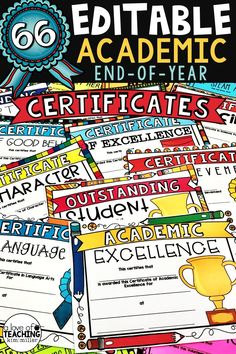 EDITABLE Academic End of Year Award Certificates: Choose from a huge selection of over 66 certificates for students! These end of year academic award certificates are a formal yet fun way of awarding students for their hard work throughout the year.