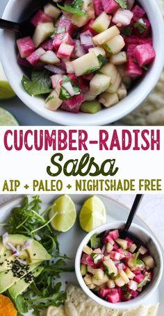 Cucumber-Radish Salsa (AIP, Paleo, Nightshade Free, Vegan) low allergen and anti-inflammatory quality recipes from rally pure - autoimmune protocol Best Paleo Recipes, Whole Food Recipes, Diet Recipes, Primal Recipes, Cheap Recipes, Pork Recipes, Paleo Menu, Paleo Diet, Paleo Vegan
