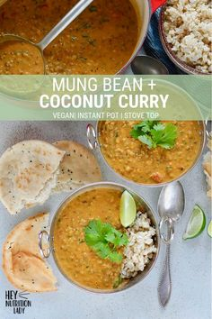 Mung Bean and Coconut Curry! This easy vegan curry is packed with Indian flavour. Mung Bean and Coconut Curry! This easy vegan curry is packed with Indian flavours, coconut milk, ci Vegetarian Bean Recipes, Curry Recipes, Veggie Recipes, Indian Food Recipes, Whole Food Recipes, Healthy Recipes, Scd Recipes, Indonesian Recipes, Healthy Dinners