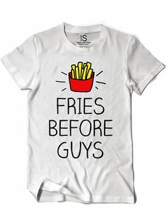 "Women's ""Fries Before Guys"" Vintage Tee by Glitz Apparel (White)"
