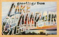 Greetings from Lake Champlain, Vermont - Large Letter Postcard