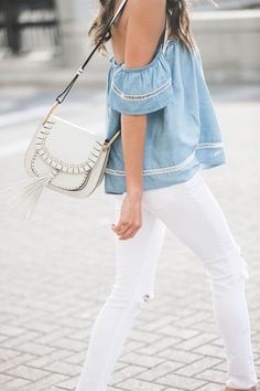 white bag with off the shoulder top and white pants // perfect spring style