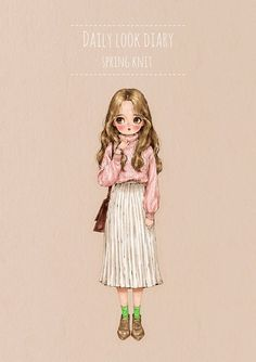 "애뽈(aeppol) ""Daily look. Watercolor Girl, Forest Girl, Pastel Art, Crayon, Daily Look, Anime Art Girl, Cute Illustration, Cute Cartoon, Cute Drawings"