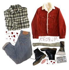 redrum by missbiersack on Polyvore featuring Woolrich, Dr. Martens, men's fashion and menswear