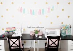Sewing Room 1 - Simple Simon and Company Sewing Room Design, Sewing Spaces, My Sewing Room, Sewing Rooms, Vintage Sewing Notions, Vintage Sewing Machines, Sewing Room Organization, Office Playroom, Sewing A Button