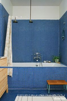 The new 2020 interior design trend is all about Pantone's Color of the Year, Classic Blue. Interior designer Ann Cox shares her favorite designs featuring this classic color. Bathroom Inspiration, Design Inspiration, Casa Milano, Blue Tiles, Interior Design Studio, Small Bathroom, Blue Tile Bathrooms, Mosaic Bathroom, Bathroom Interior