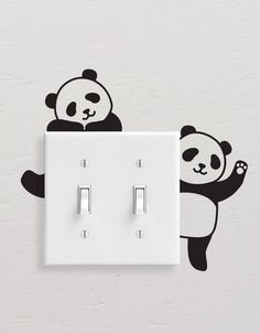 Panda Wall Decals, Panda Light Switch Decal, Simple Panda Vinyl Wall Decal, Panda Stickers, Light Switch Sticker - Best Painting Ideas For Beginners Simple Wall Paintings, Creative Wall Painting, Wall Painting Decor, Diy Wall Art, Diy Wall Decor, Home Decor Wall Art, Room Decor, Paint Designs, Wall Art Designs