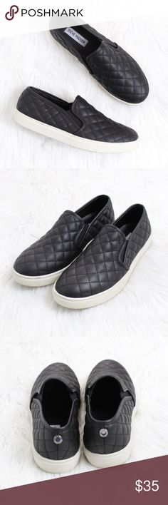 STEVE MADDEN Ecentrcq Sneaker in Black Gently used!  Size: 9 Color: Black  Lush diamond quilting puts a fresh twist on the skater-inspired profile of a sporty slip-on.  Stay a step ahead in Steve Madden's trend-leading styles and easy-to-wear silhouettes. Inspired by rock and roll and fused with a jolt of urban edge, Madden creates products that are innovative, sometimes wild and always spot-on-chic.  Synthetic upper/leather and synthetic lining/synthetic sole. Imported. Steve Madden Shoes…
