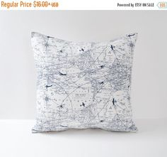 October Sale Blue Pillow Cover Airplane Pillow Aviation Pillow Chart Pillow 8 Sizes Available Cushion Covers map pillow