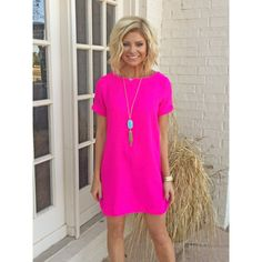 Sleeveless It Girl Solid Scalloped Woven Shift Dress - Hot Pink ...