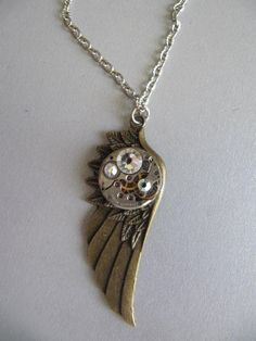 Steampunk Jewelry Steampunk Necklace Wing by LuckySteamPunk, $24.00